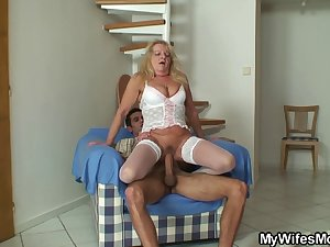 Blonde mother in law rides his big cock