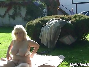 Granny rides her son-in-law cock outdoor