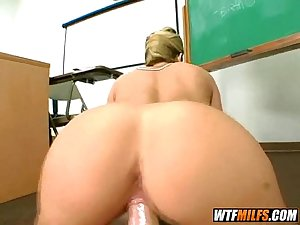 Big tit teacher gets 2 dicks in class 7