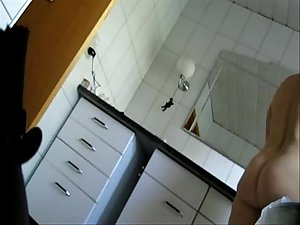 Mom caught fully nude in bath room by bad son